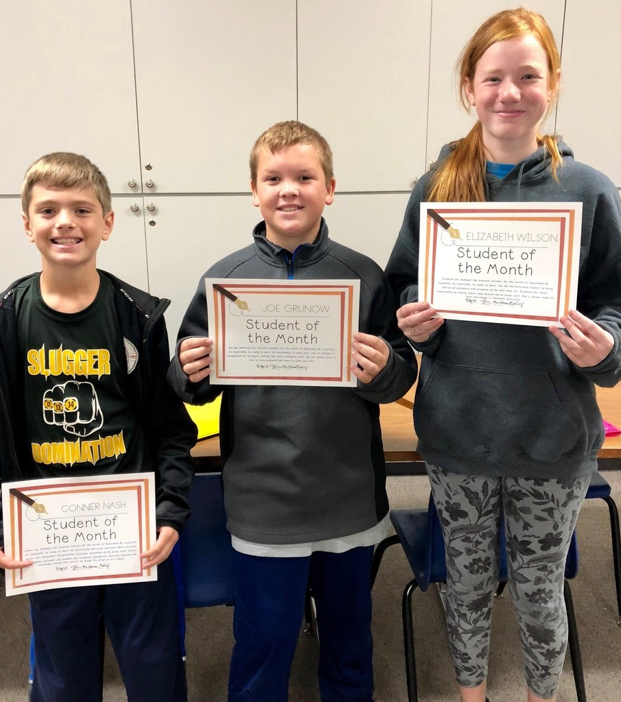6th Grade'Students of the Month.' Conner Nash, Joe Grunow, Elizabeth Wilson