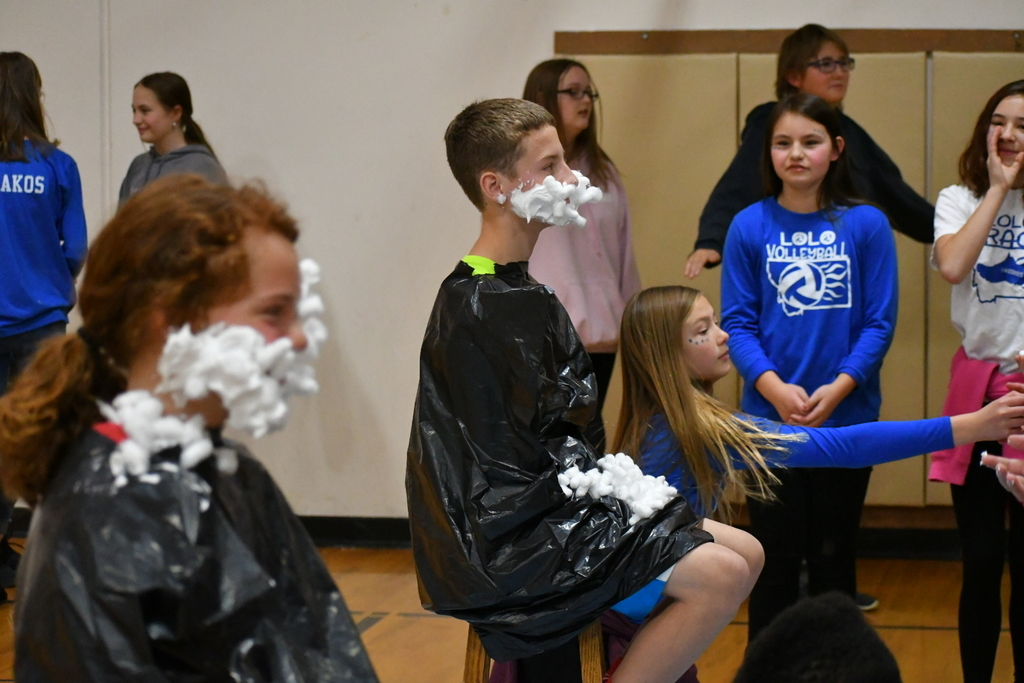 Building 'beards of shaving cream and cotton balls.