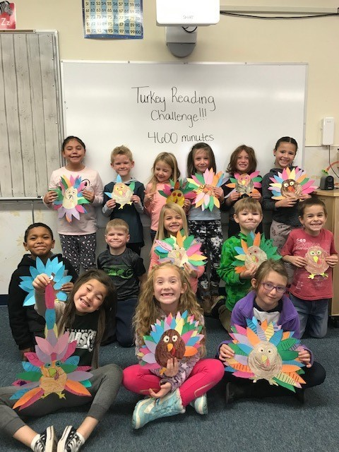 Ms. Davison's class with their turkeys.