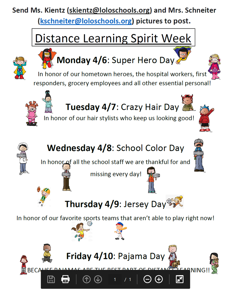 List of Activities for Virtual Spirit Week
