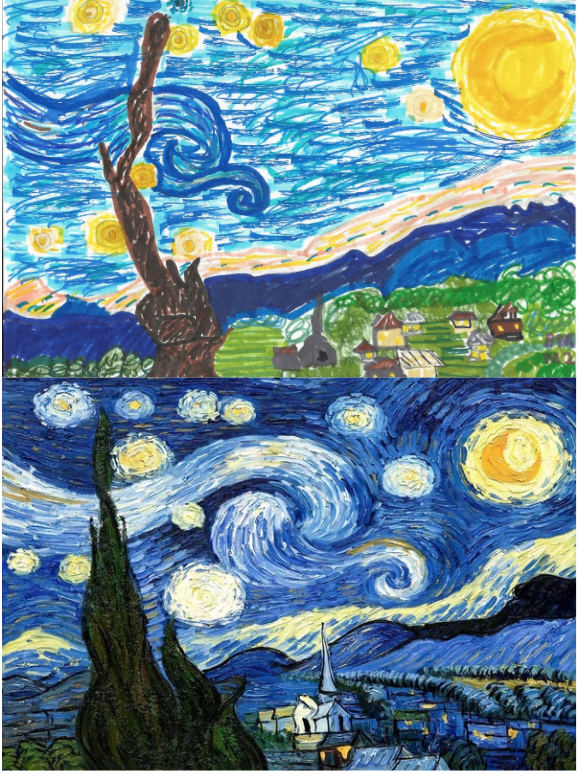 2nd Grade Bailey Recreated Van Gogh's Starry Night